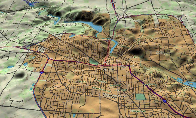 3d topo map ann arbor michigan 3d topo map ann arbor michigan